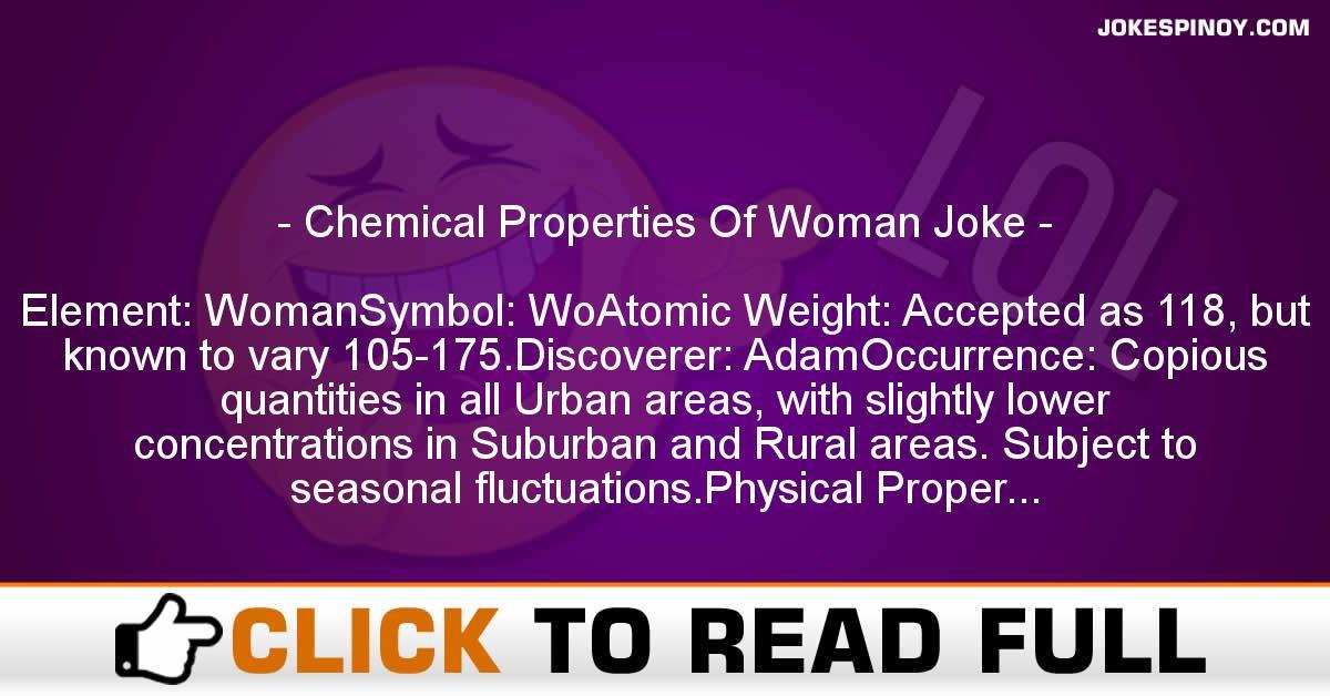 Chemical Properties Of Woman Joke