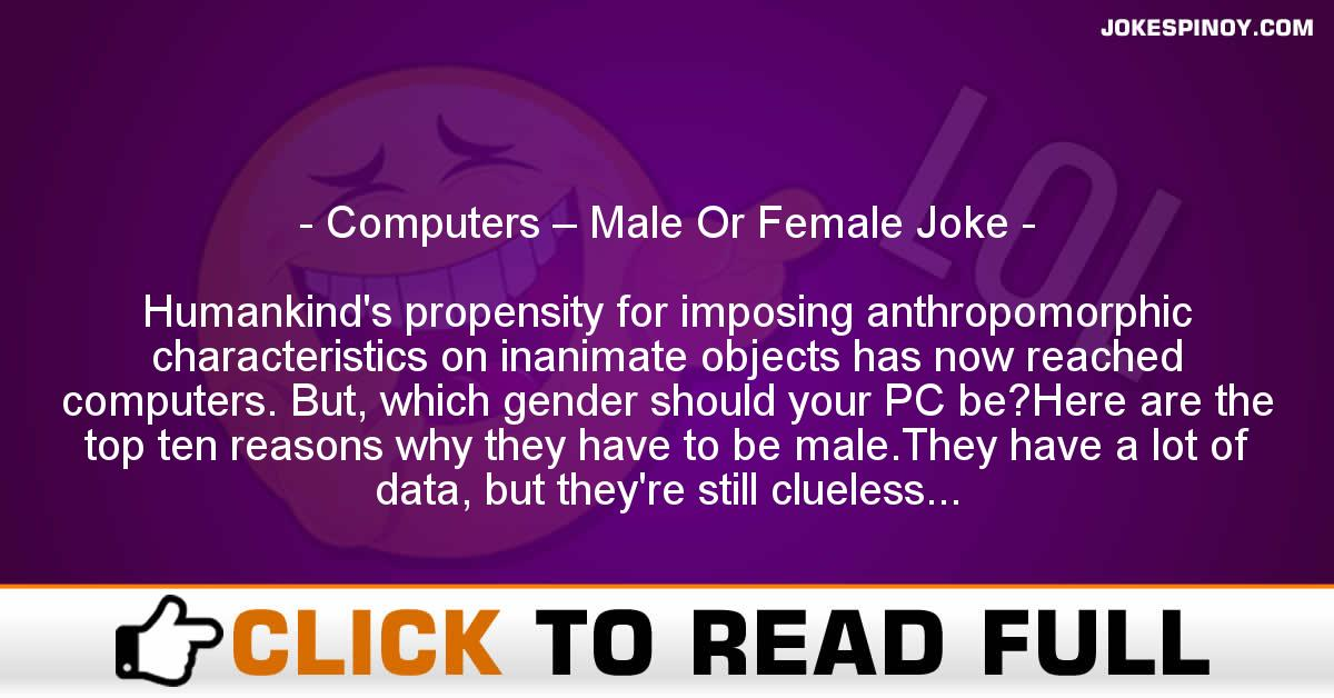 Computers – Male Or Female Joke