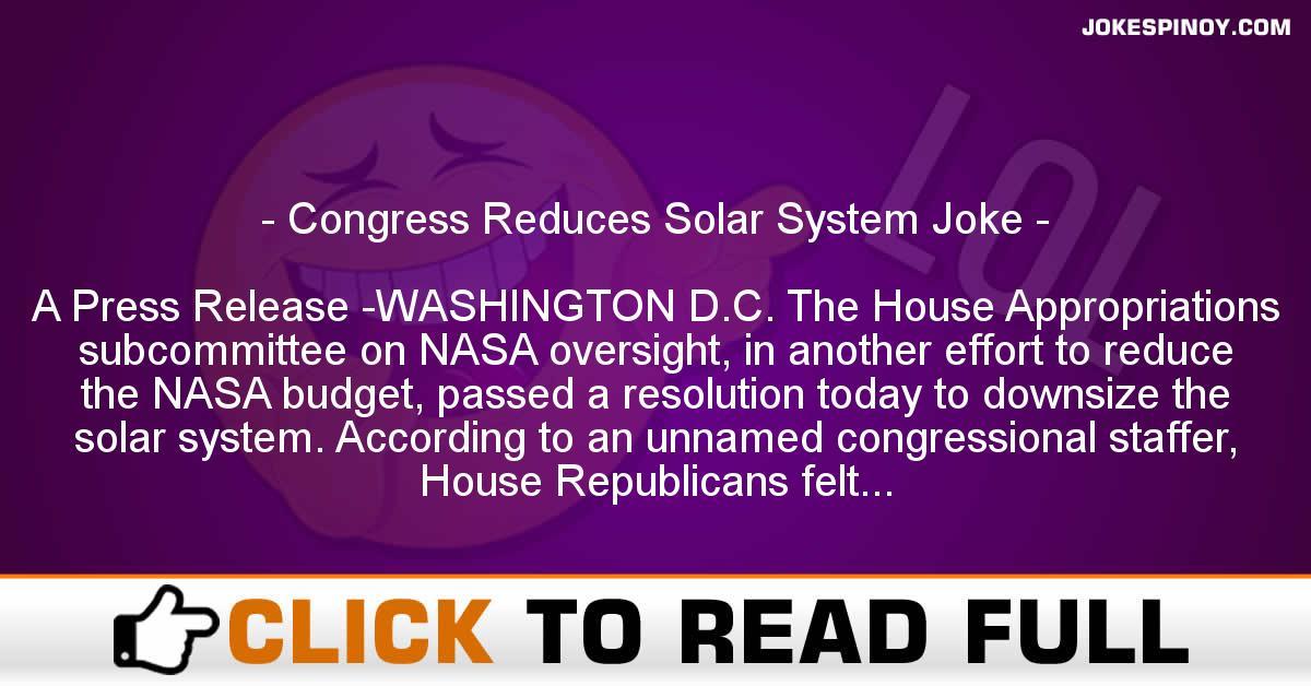 Congress Reduces Solar System Joke