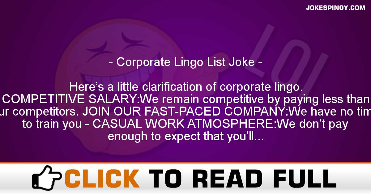 Corporate Lingo List Joke