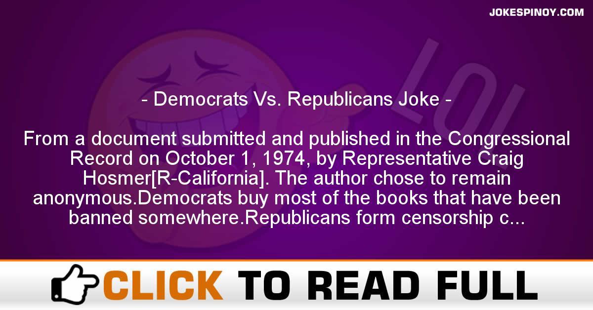 Democrats Vs. Republicans Joke