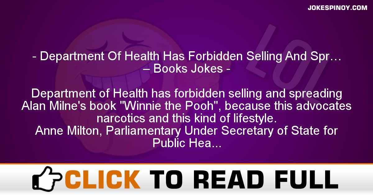 Department Of Health Has Forbidden Selling And Spr… – Books Jokes