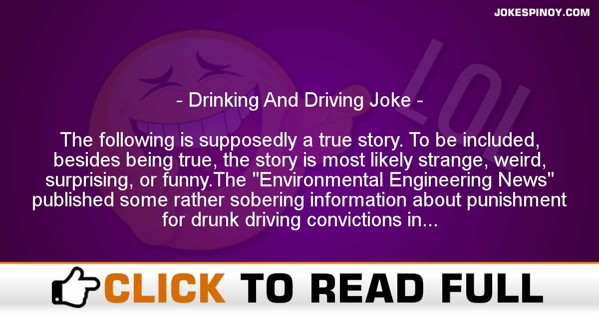 Drinking And Driving Joke