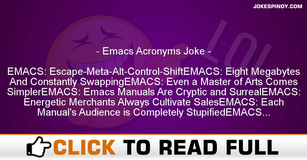 Emacs Acronyms Joke