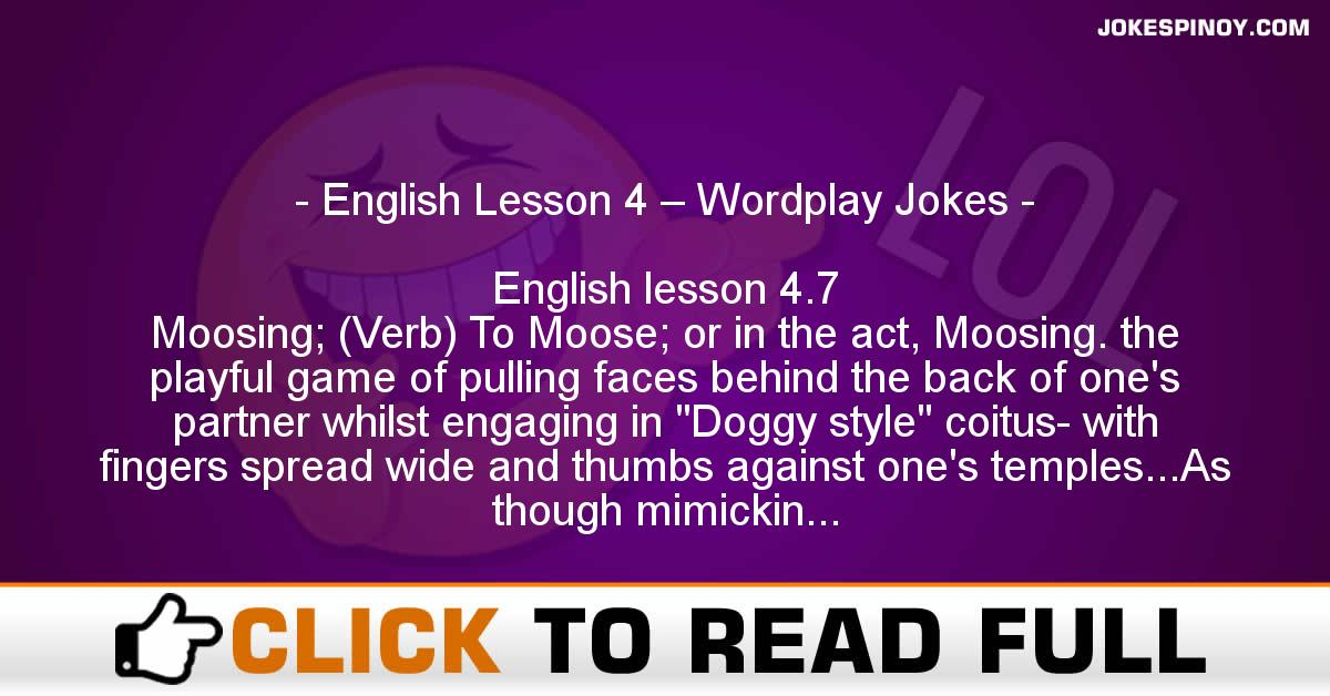 English Lesson 4 – Wordplay Jokes