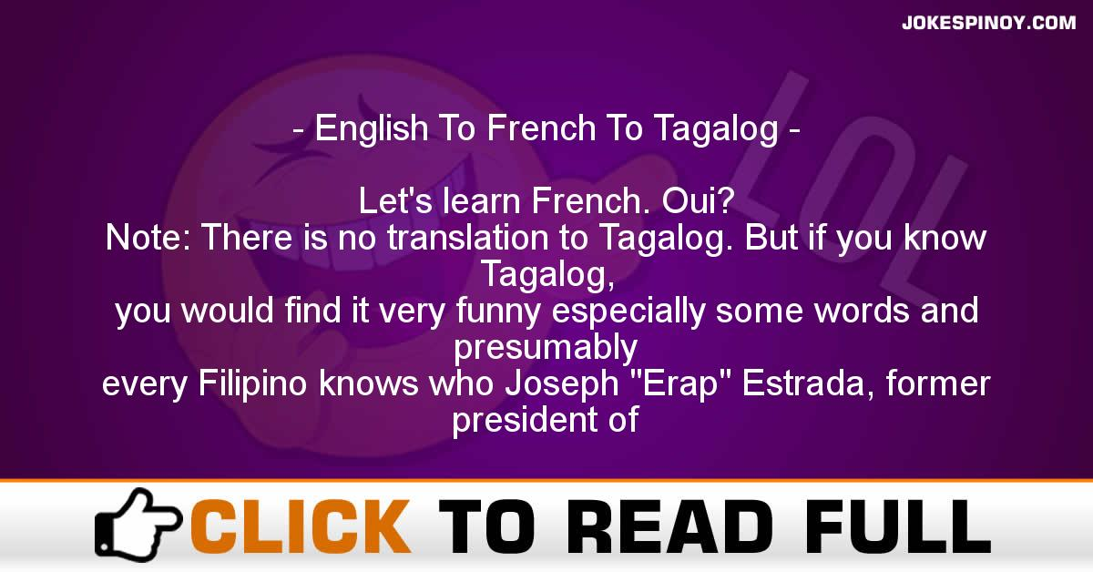 English To French To Tagalog