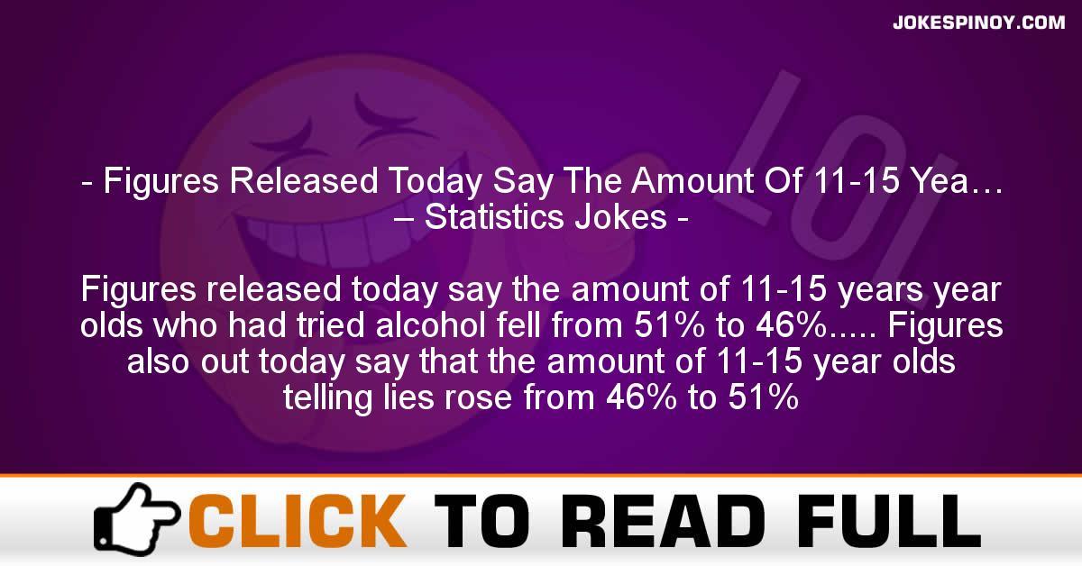 Figures Released Today Say The Amount Of 11-15 Yea… – Statistics Jokes