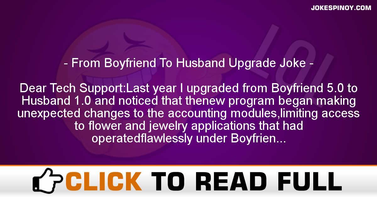 From Boyfriend To Husband Upgrade Joke