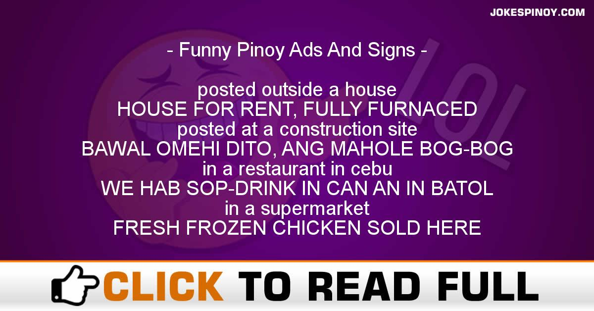 Funny Pinoy Ads And Signs