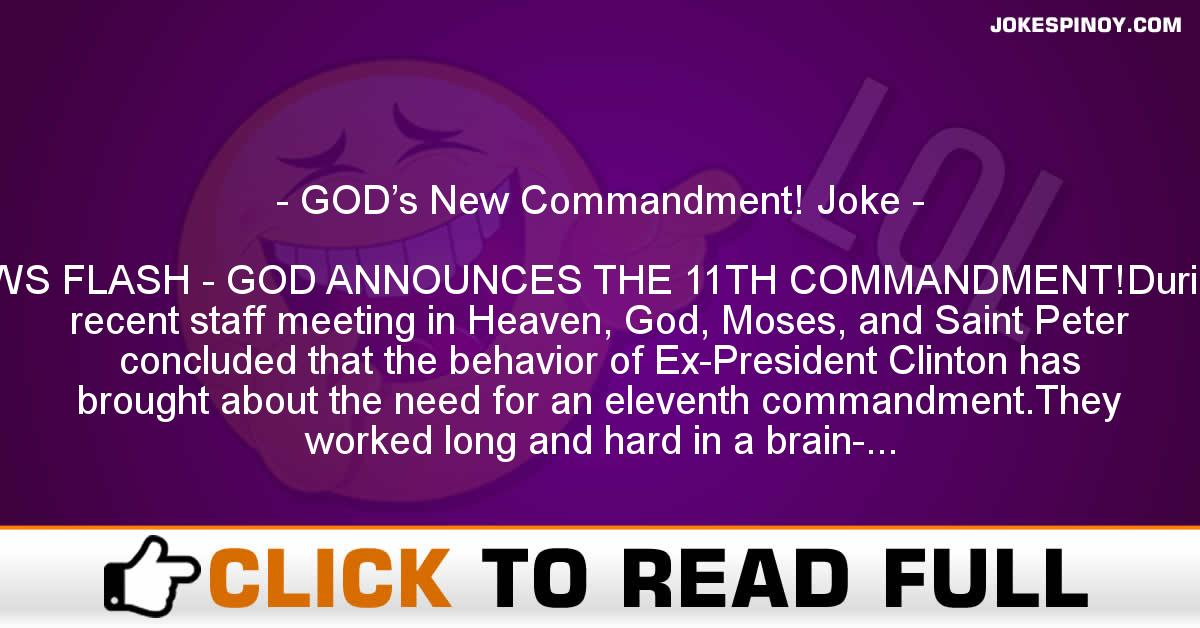 GOD's New Commandment! Joke
