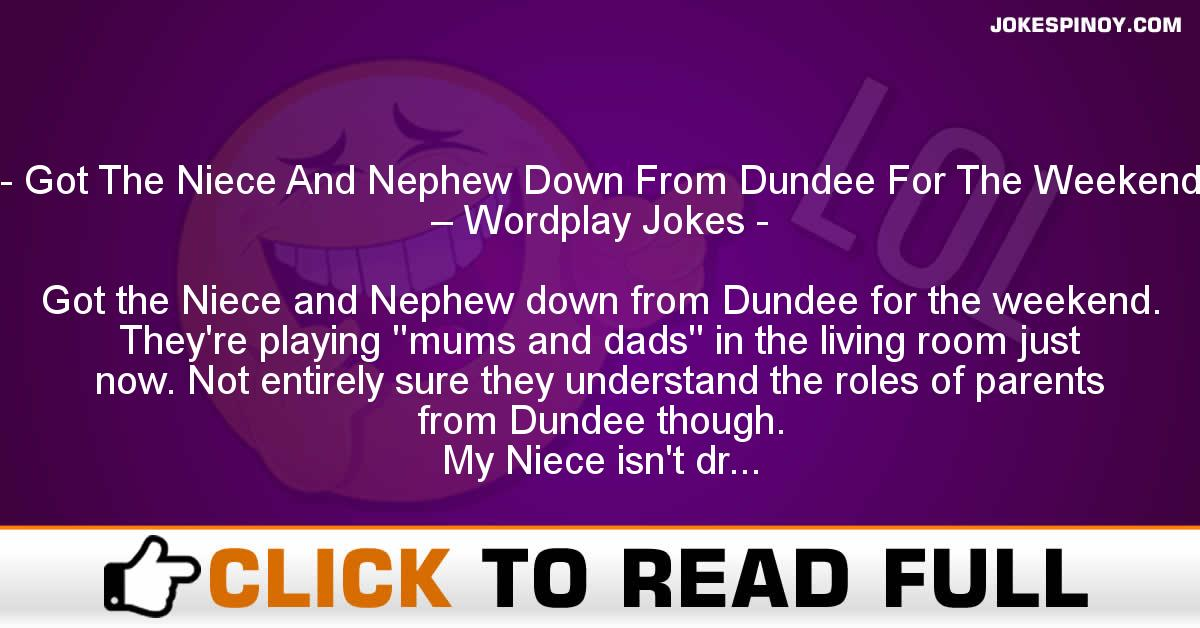 Got The Niece And Nephew Down From Dundee For The Weekend – Wordplay Jokes