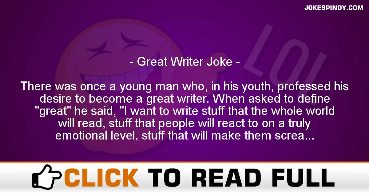 Great Writer Joke