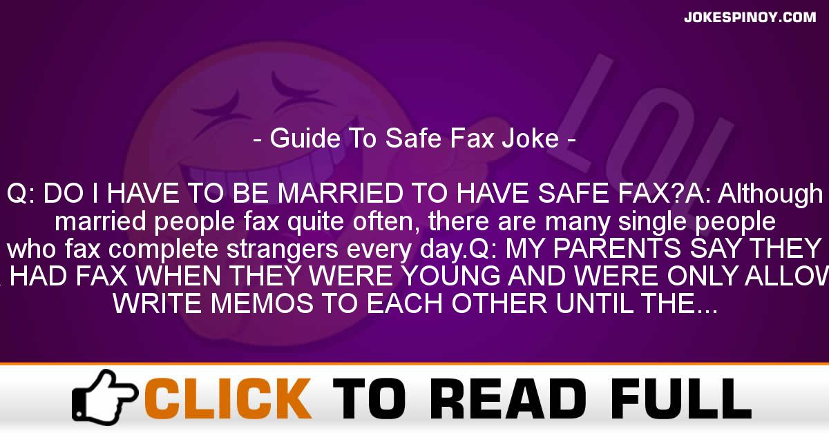 Guide To Safe Fax Joke