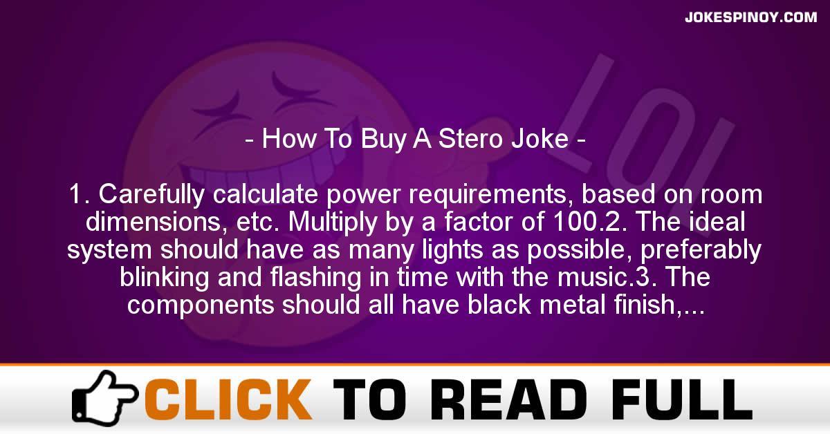 How To Buy A Stero Joke