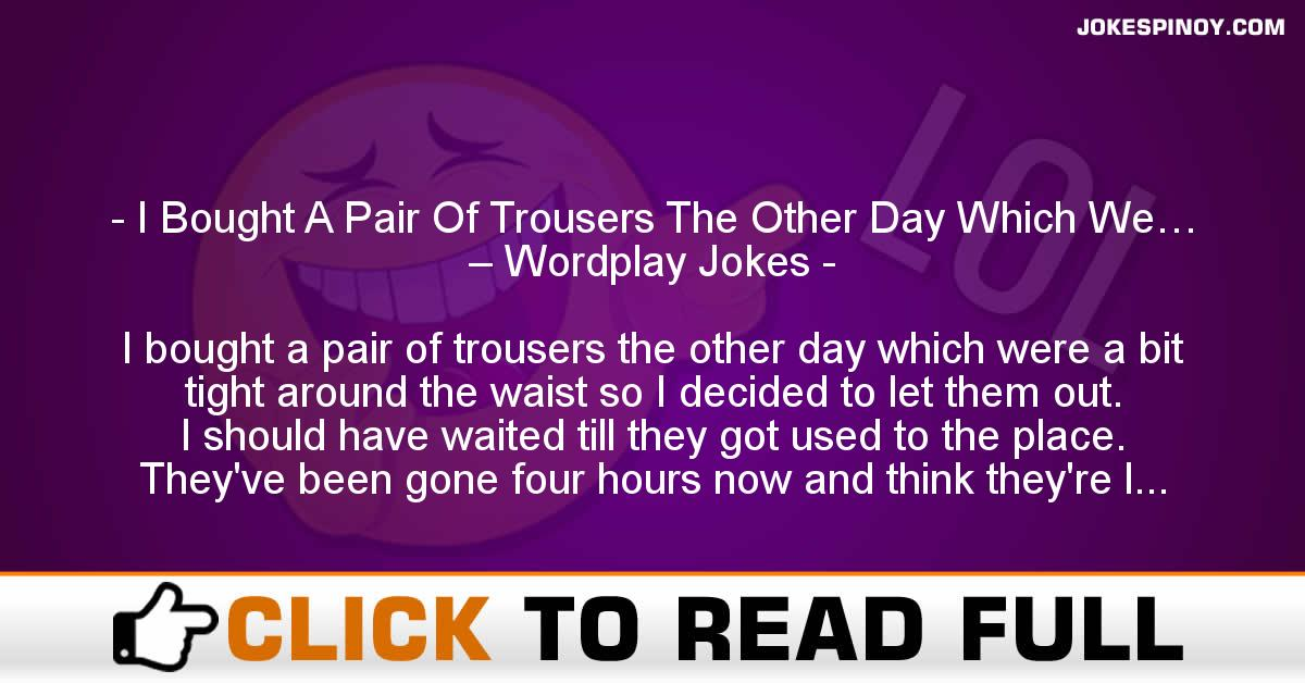 I Bought A Pair Of Trousers The Other Day Which We… – Wordplay Jokes