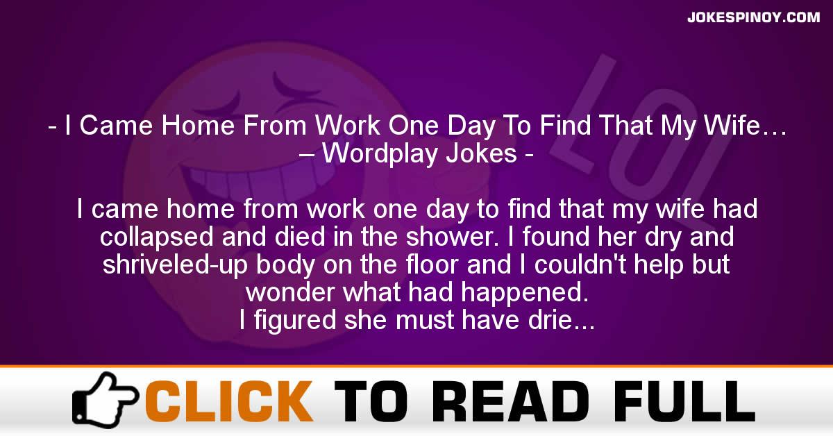 I Came Home From Work One Day To Find That My Wife… – Wordplay Jokes