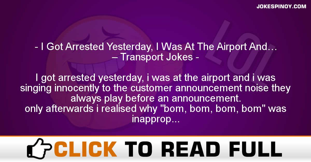 I Got Arrested Yesterday, I Was At The Airport And… – Transport Jokes