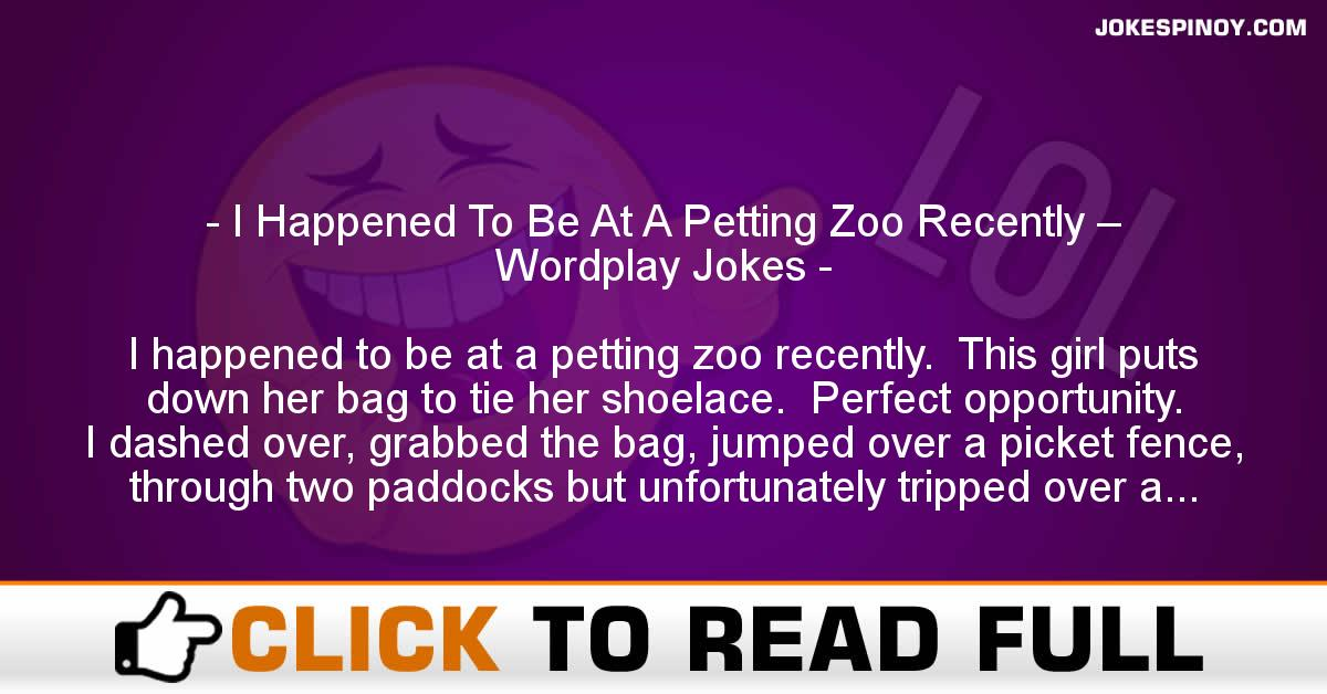 I Happened To Be At A Petting Zoo Recently – Wordplay Jokes