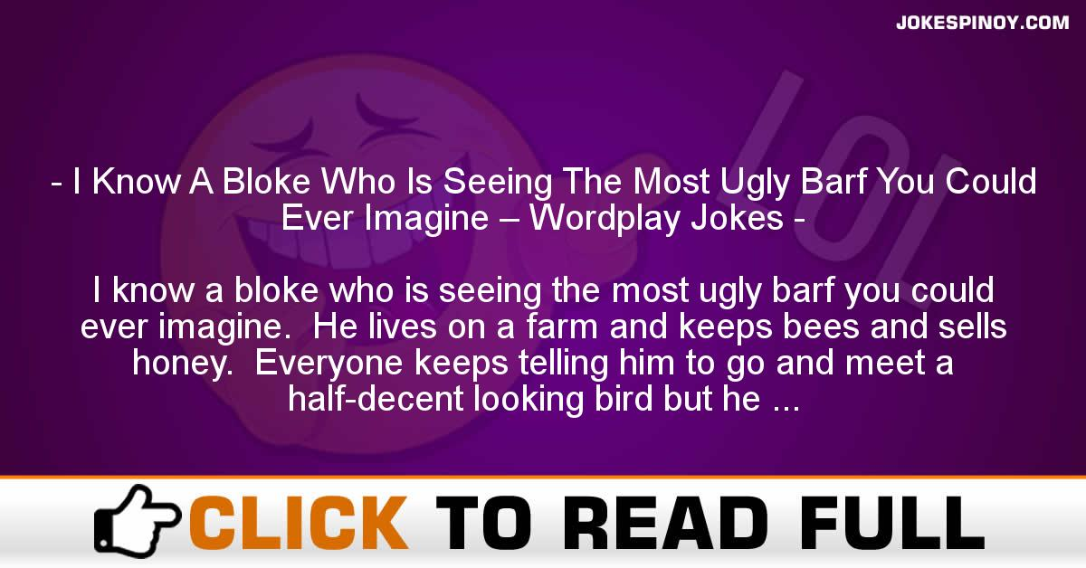 I Know A Bloke Who Is Seeing The Most Ugly Barf You Could Ever Imagine – Wordplay Jokes