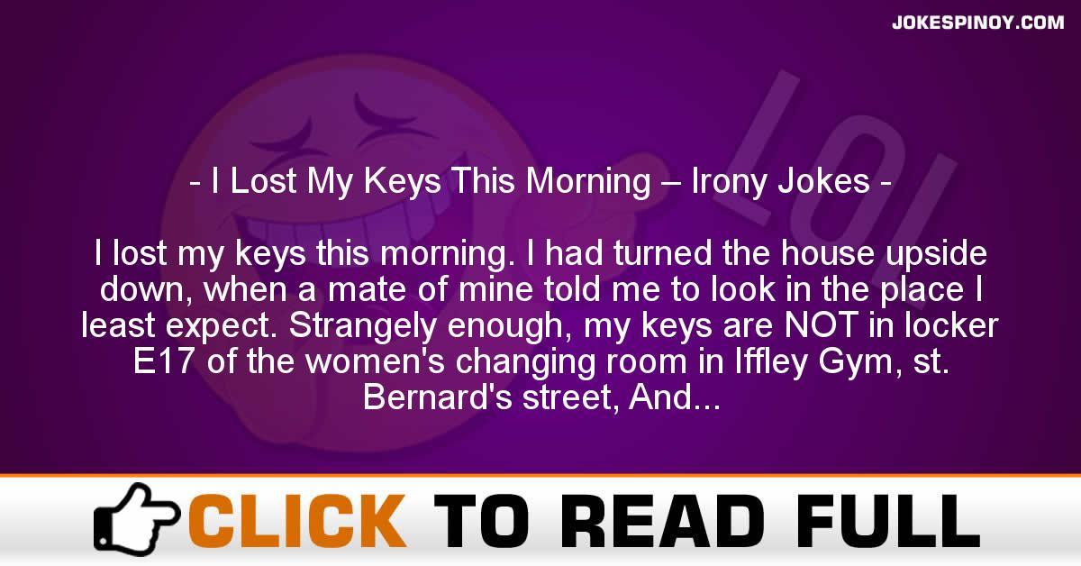 I Lost My Keys This Morning – Irony Jokes