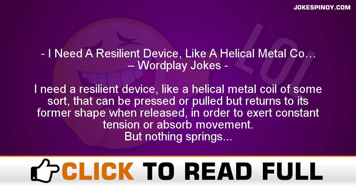 I Need A Resilient Device, Like A Helical Metal Co… – Wordplay Jokes