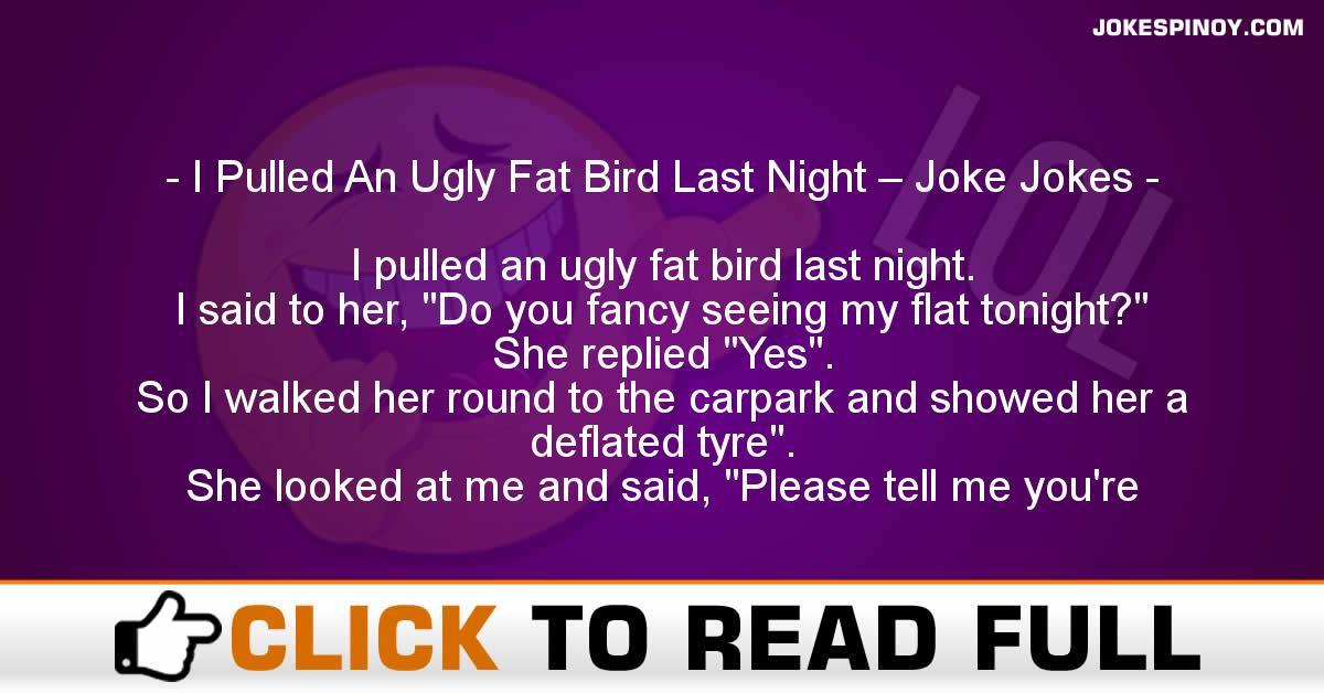 I Pulled An Ugly Fat Bird Last Night – Joke Jokes