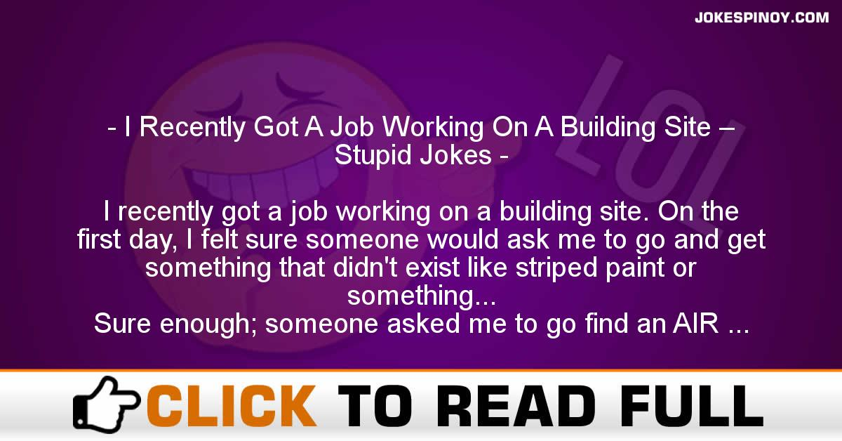 I Recently Got A Job Working On A Building Site – Stupid Jokes