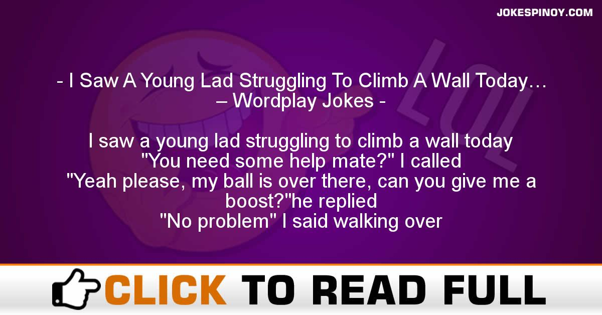 I Saw A Young Lad Struggling To Climb A Wall Today… – Wordplay Jokes