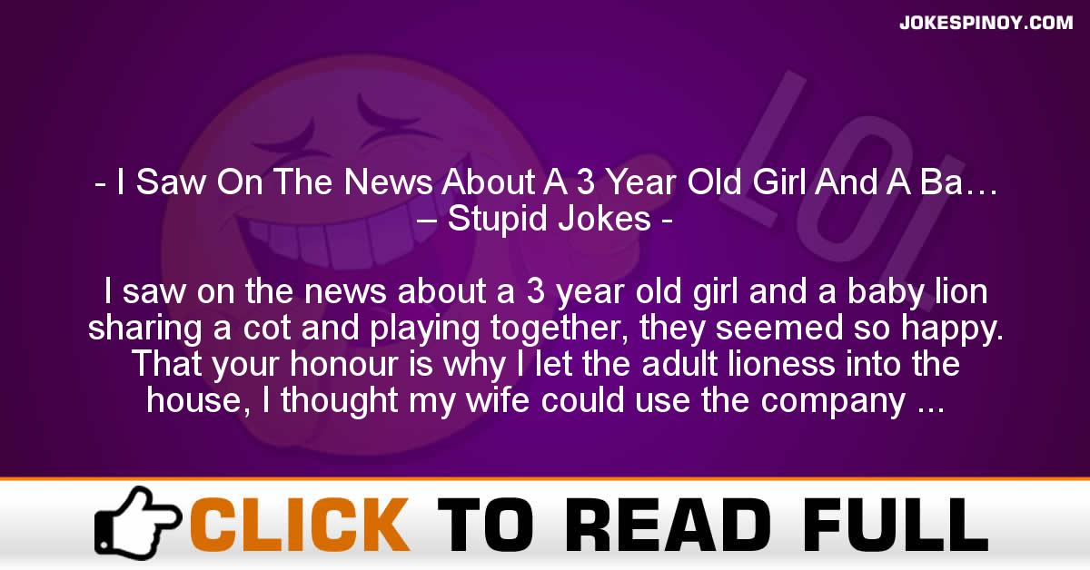 I Saw On The News About A 3 Year Old Girl And A Ba… – Stupid Jokes