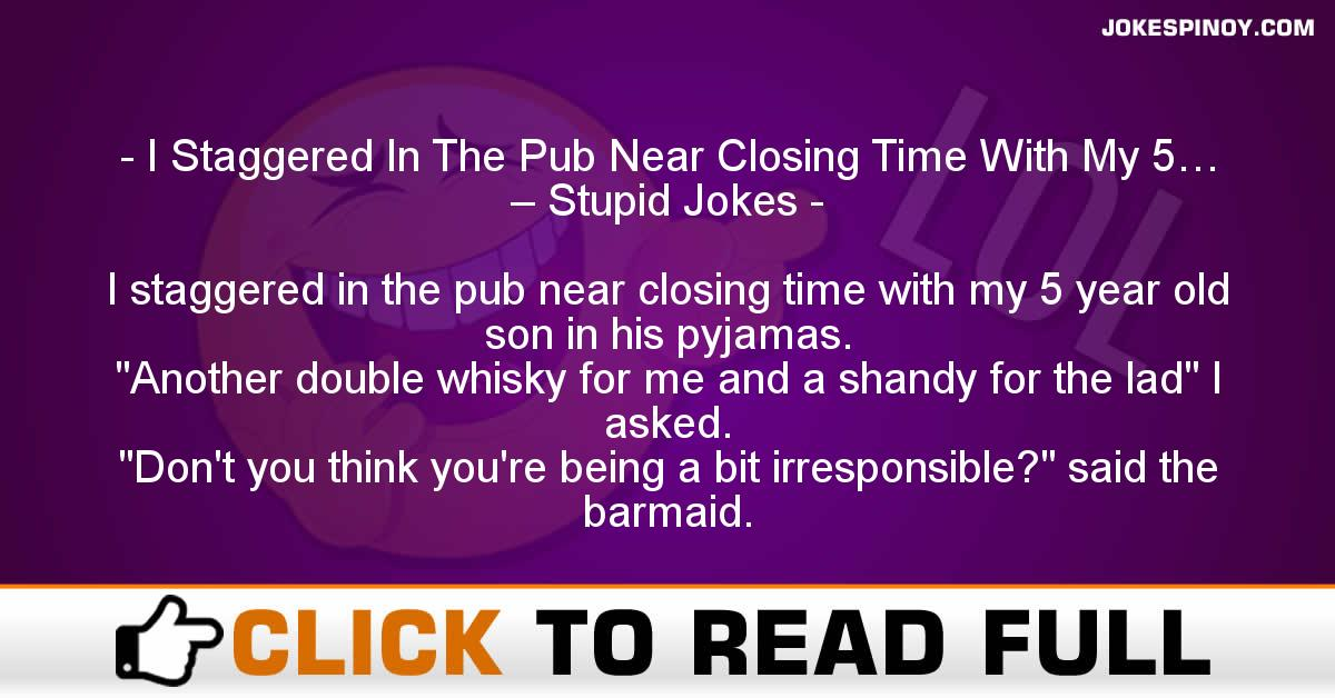 I Staggered In The Pub Near Closing Time With My 5… – Stupid Jokes