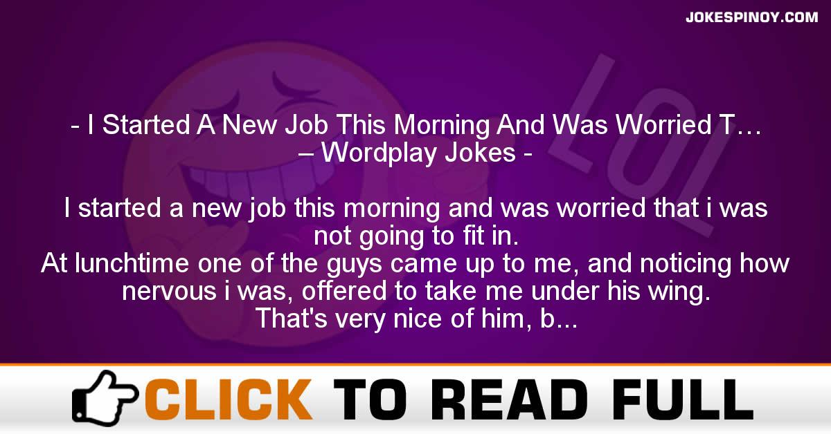 I Started A New Job This Morning And Was Worried T… – Wordplay Jokes