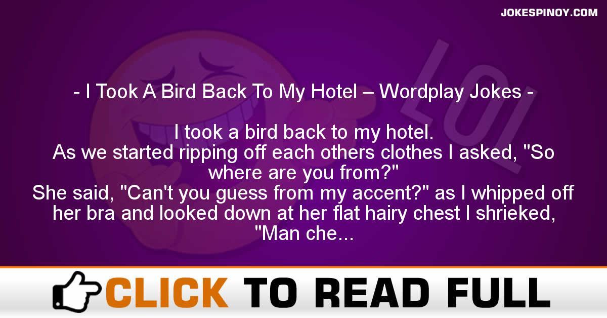I Took A Bird Back To My Hotel – Wordplay Jokes