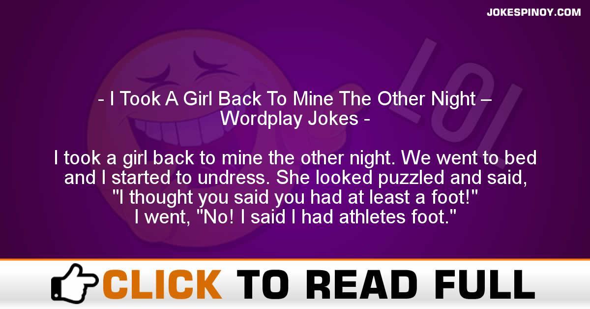 I Took A Girl Back To Mine The Other Night – Wordplay Jokes