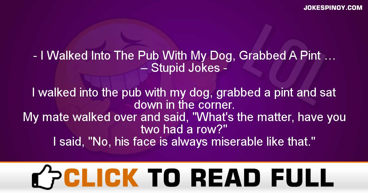 I Walked Into The Pub With My Dog, Grabbed A Pint … – Stupid Jokes