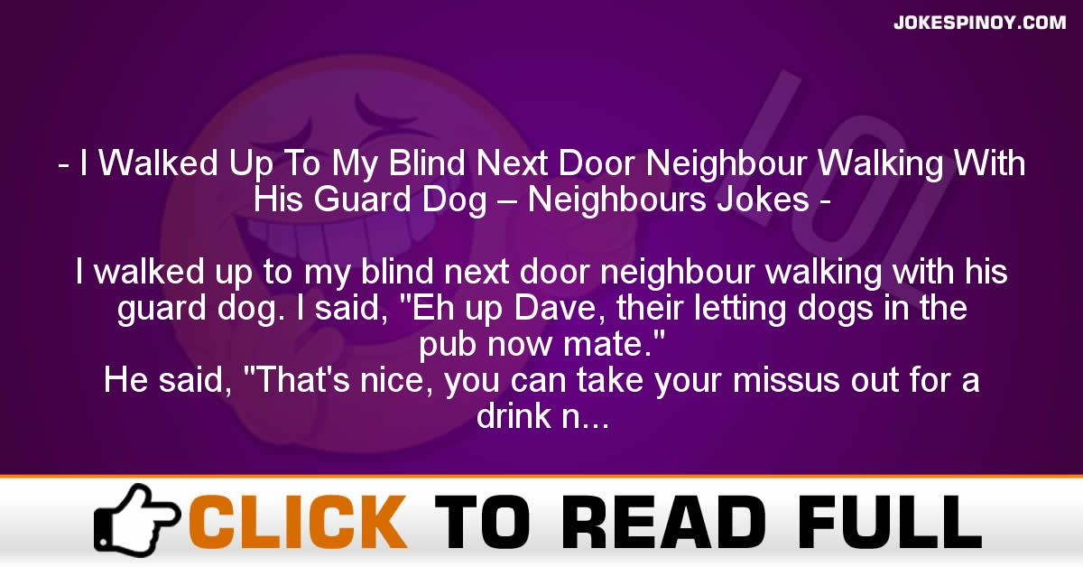 I Walked Up To My Blind Next Door Neighbour Walking With His Guard Dog – Neighbours Jokes