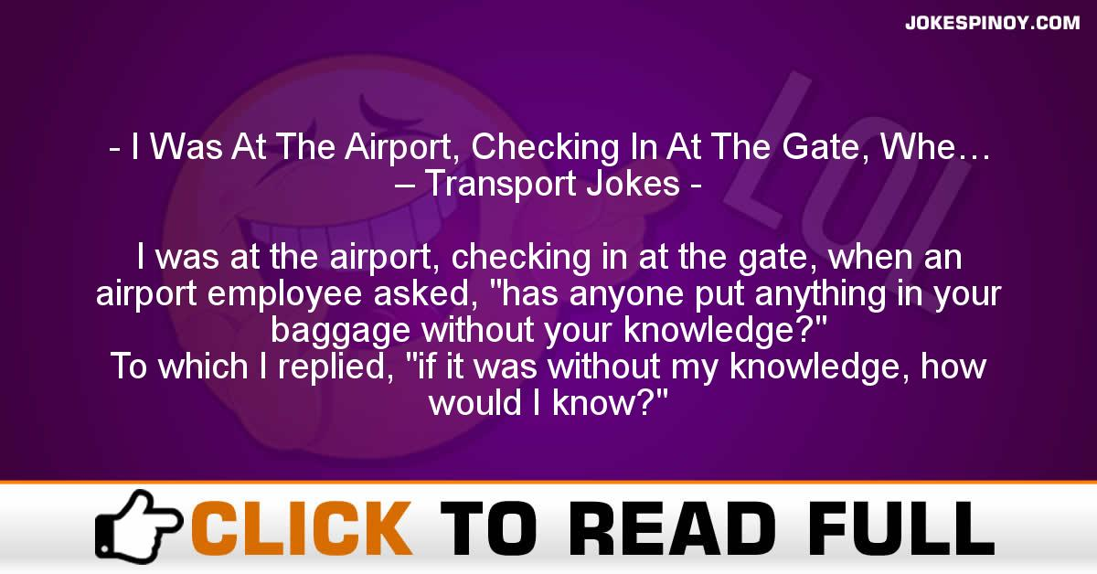 I Was At The Airport, Checking In At The Gate, Whe… – Transport Jokes