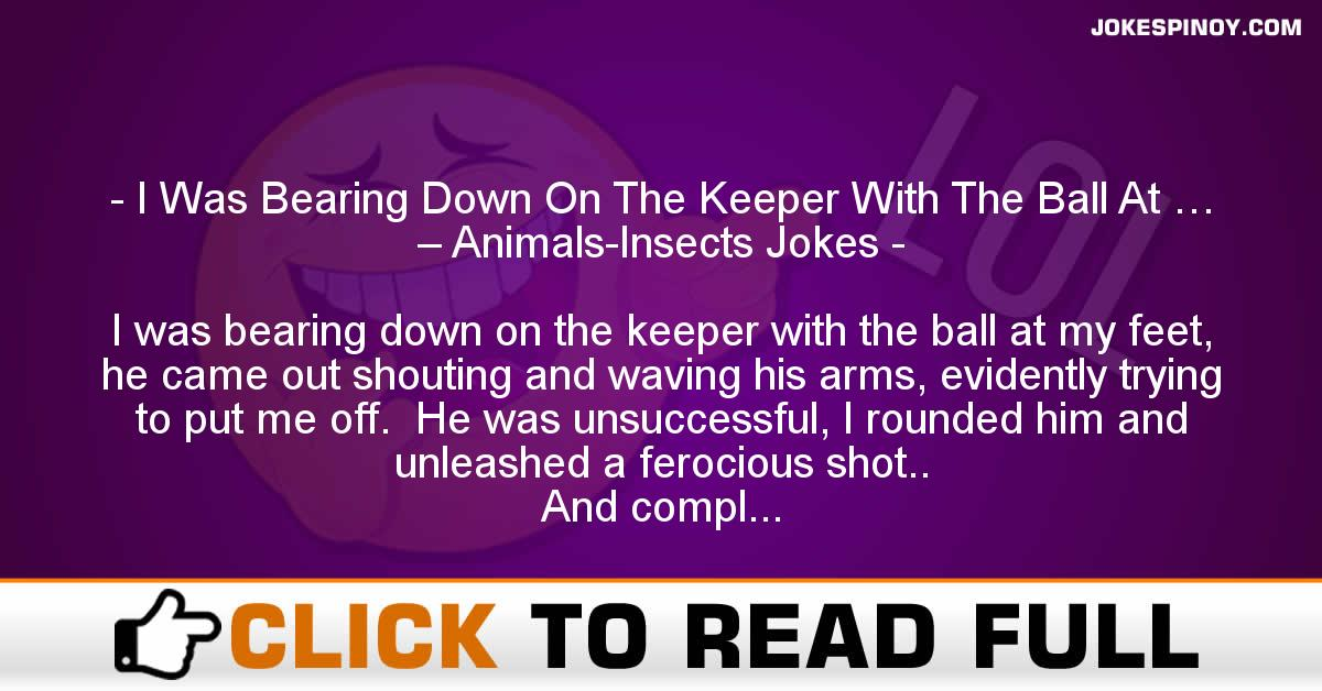 I Was Bearing Down On The Keeper With The Ball At … – Animals-Insects Jokes