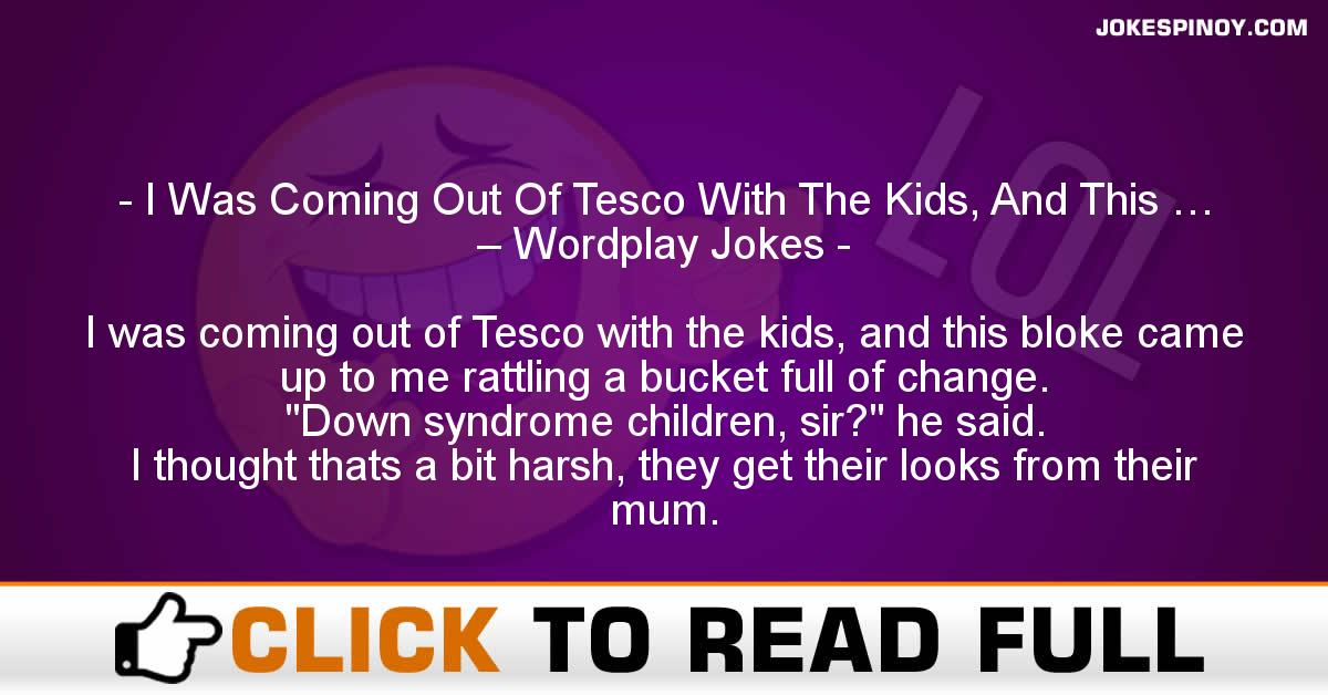 I Was Coming Out Of Tesco With The Kids, And This … – Wordplay Jokes