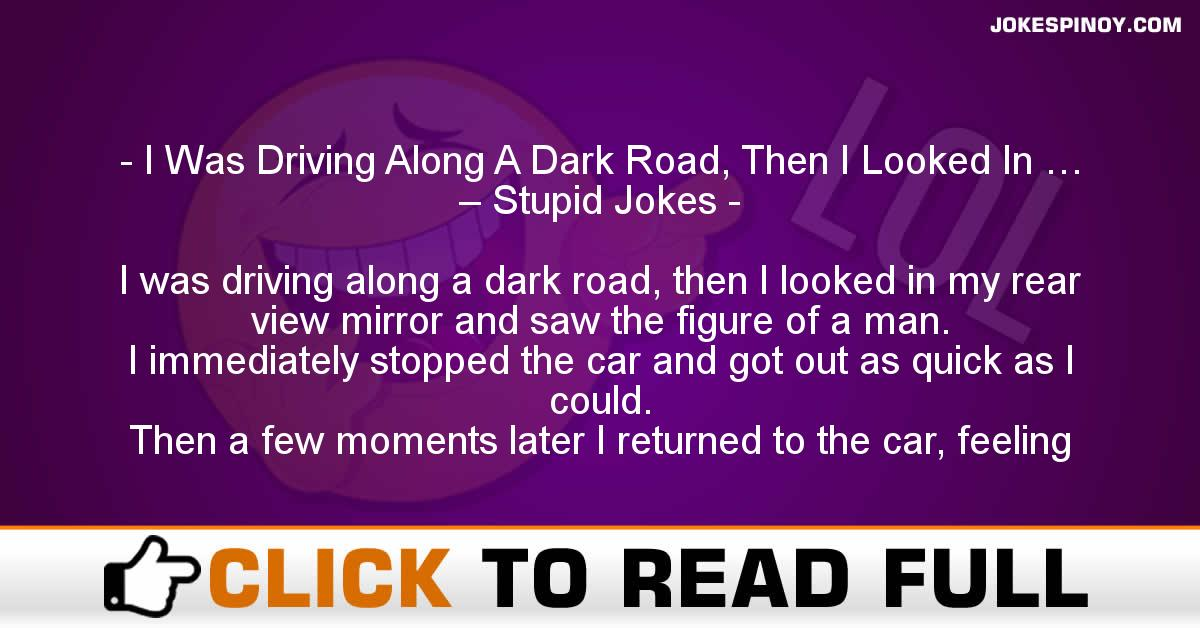 I Was Driving Along A Dark Road, Then I Looked In … – Stupid Jokes