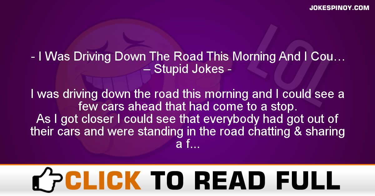 I Was Driving Down The Road This Morning And I Cou… – Stupid Jokes