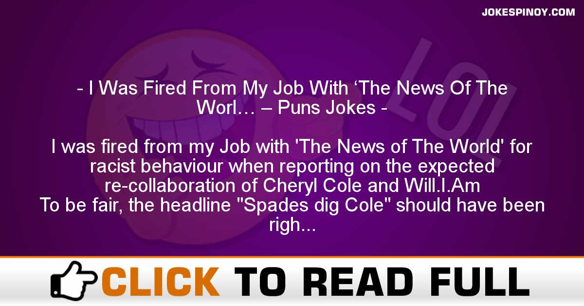 I Was Fired From My Job With 'The News Of The Worl… – Puns Jokes