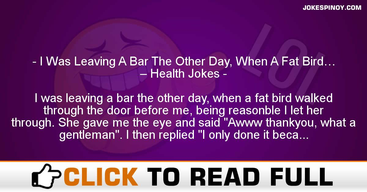 I Was Leaving A Bar The Other Day, When A Fat Bird… – Health Jokes