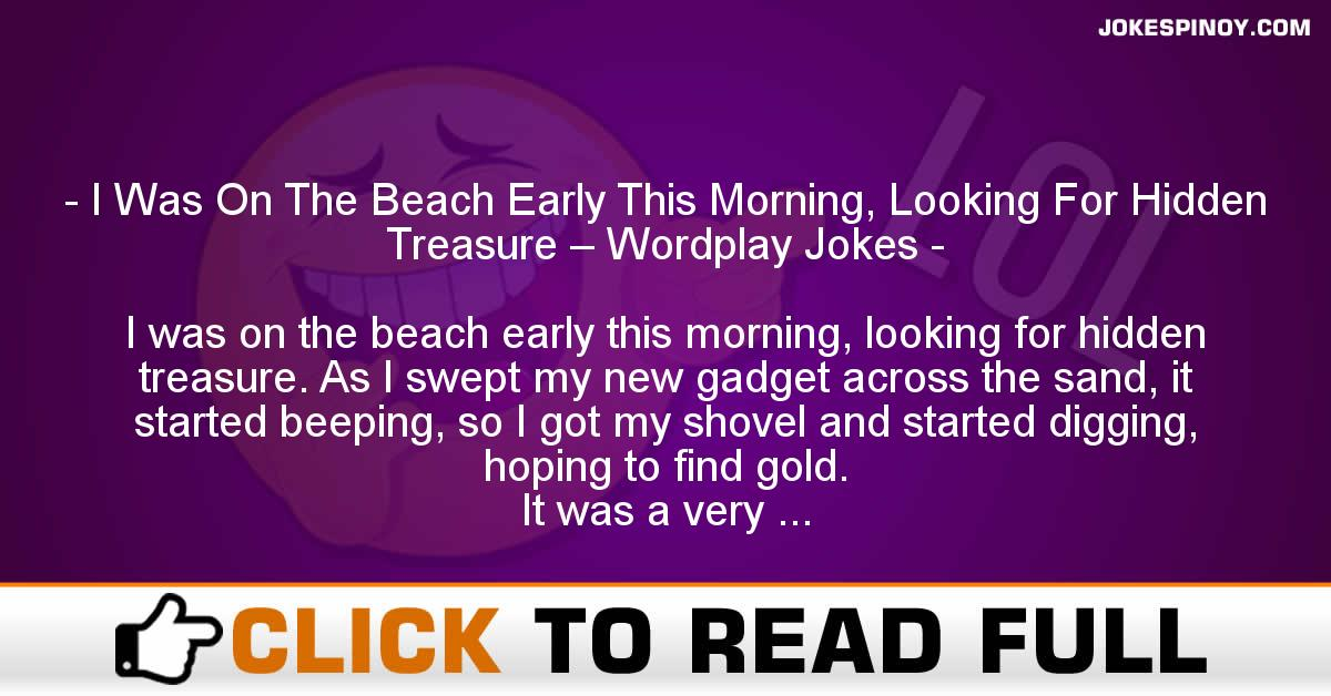 I Was On The Beach Early This Morning, Looking For Hidden Treasure – Wordplay Jokes