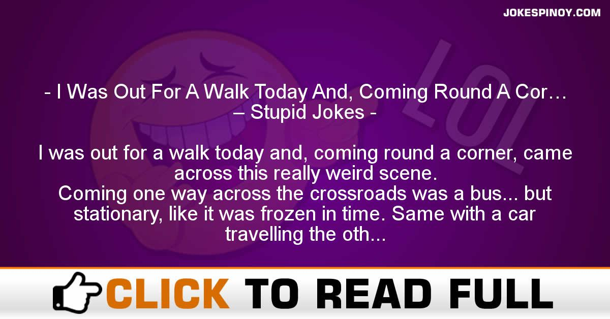 I Was Out For A Walk Today And, Coming Round A Cor… – Stupid Jokes
