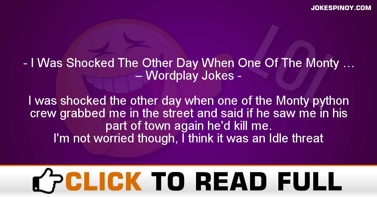 I Was Shocked The Other Day When One Of The Monty … – Wordplay Jokes