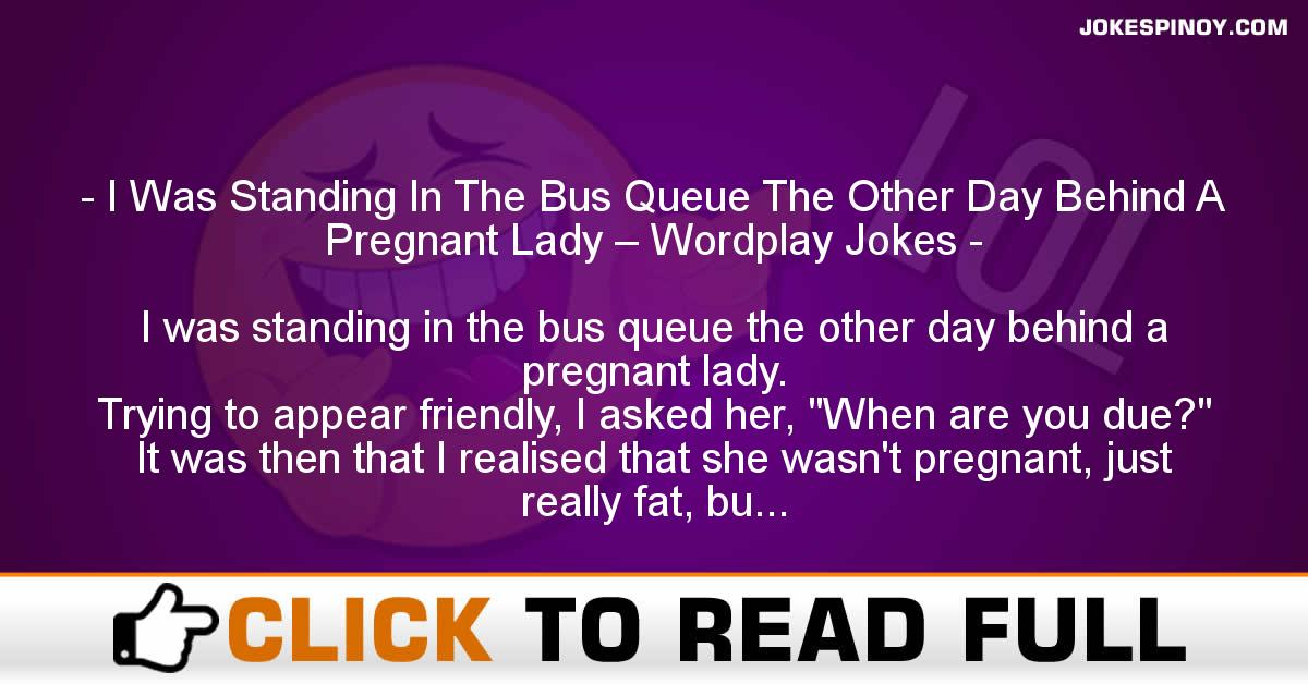 I Was Standing In The Bus Queue The Other Day Behind A Pregnant Lady – Wordplay Jokes