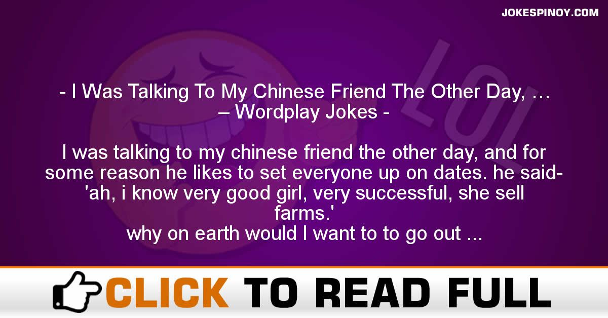 I Was Talking To My Chinese Friend The Other Day, … – Wordplay Jokes