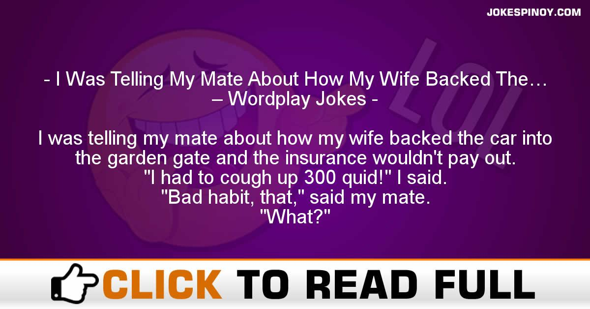 I Was Telling My Mate About How My Wife Backed The… – Wordplay Jokes