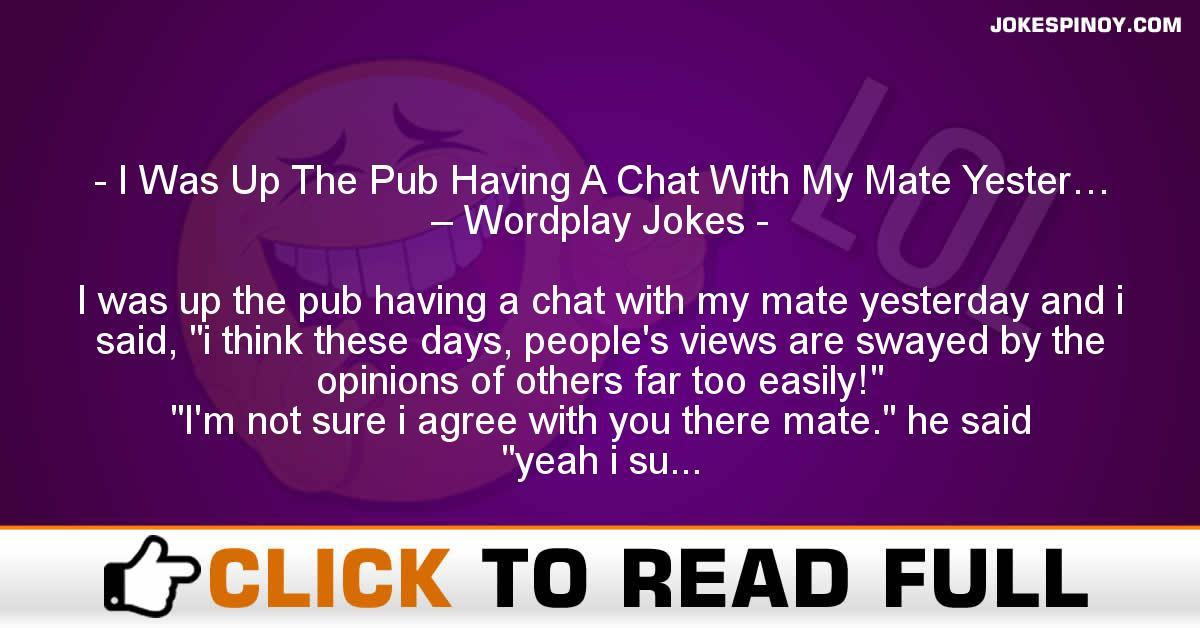 I Was Up The Pub Having A Chat With My Mate Yester… – Wordplay Jokes