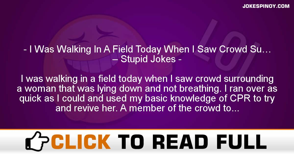 I Was Walking In A Field Today When I Saw Crowd Su… – Stupid Jokes